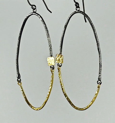 Roger Rimel 18K Yellow Gold and Sterling Silver Oval Earrings