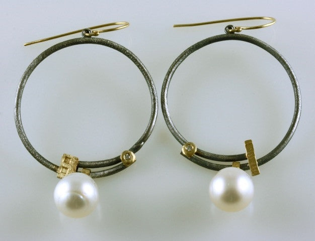 Roger Rimel Sterling Silver and 18K Gold Earrings with .04 Carat Diamonds and South Sea Pearls