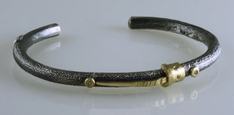 Roger Rimel 18K Yellow Gold and Sterling Silver Bracelet with Diamonds