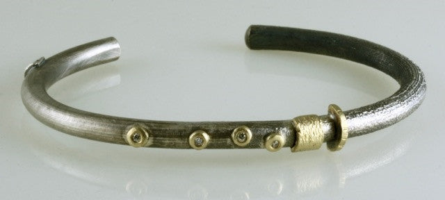Roger Rimel 18K Yellow Gold and Sterling Silver Bracelet with White Diamonds