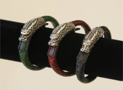Dragon in silver, goat braid (red, green, black, or brown)