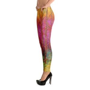 Fuschia Tree Leggings Low Side