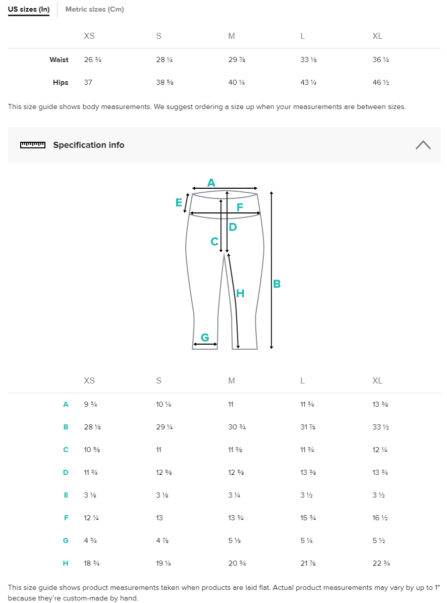 Art Athleisure High Waist Capris Size Chart