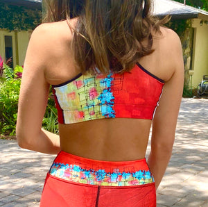 """Bold Red Color Block"" Sports Bra"