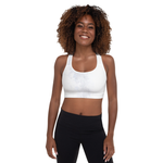 """Abstract Pale White and Grey"" Padded Sports Bra"