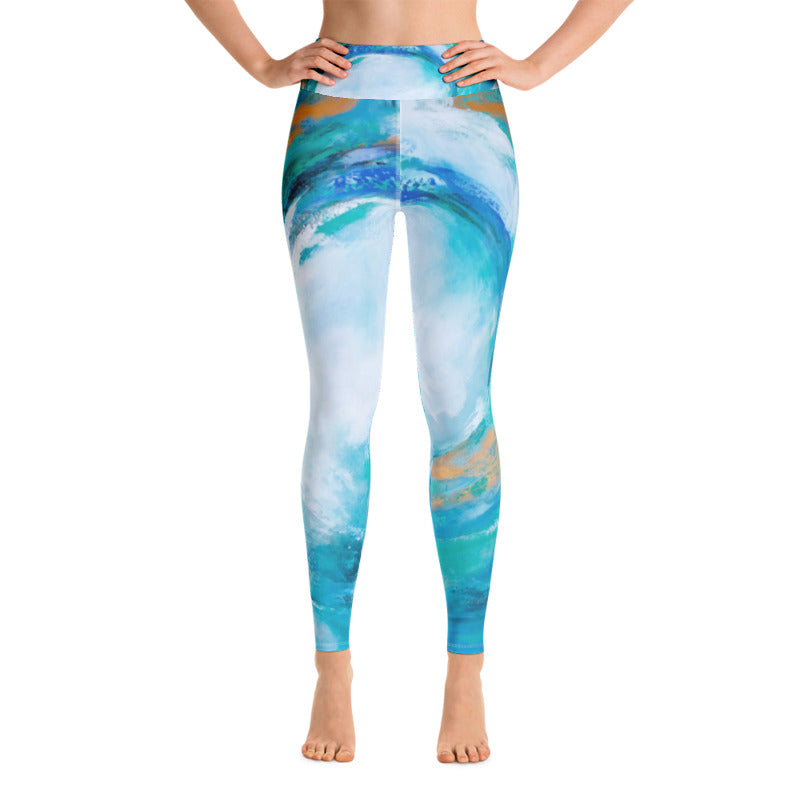 Hurricane Turquoise Art Athleisure Leggings Front