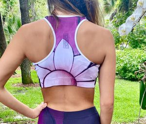 """White Flower on Amethyst"" Sports Bra"