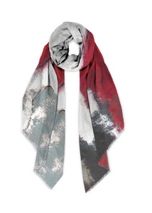 """Abstract Woman Red & Grey"" Scarf"