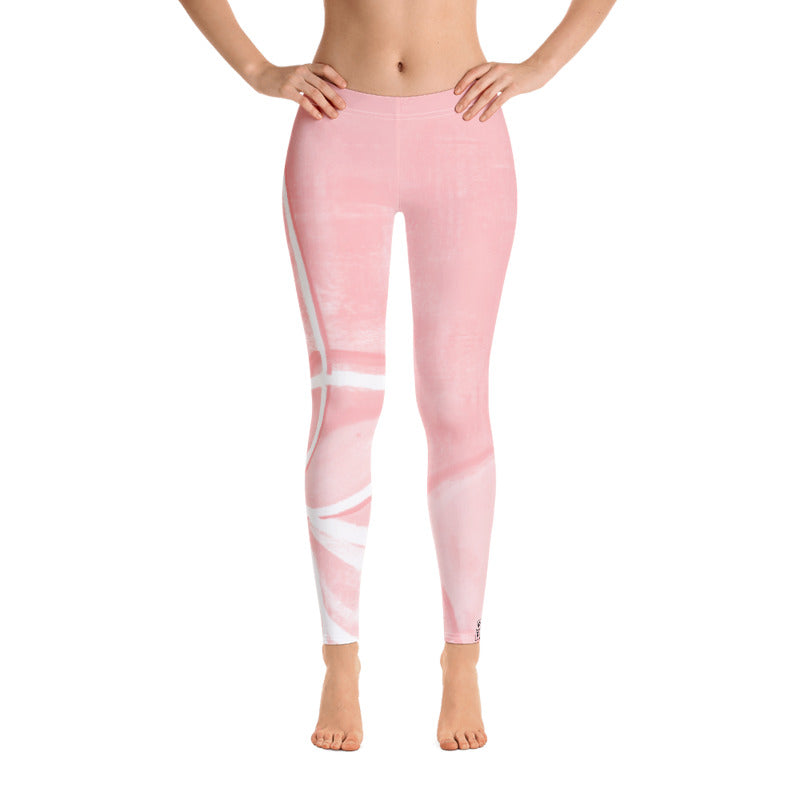"""Abstract Pink & White"" Regular-Waist Leggings"