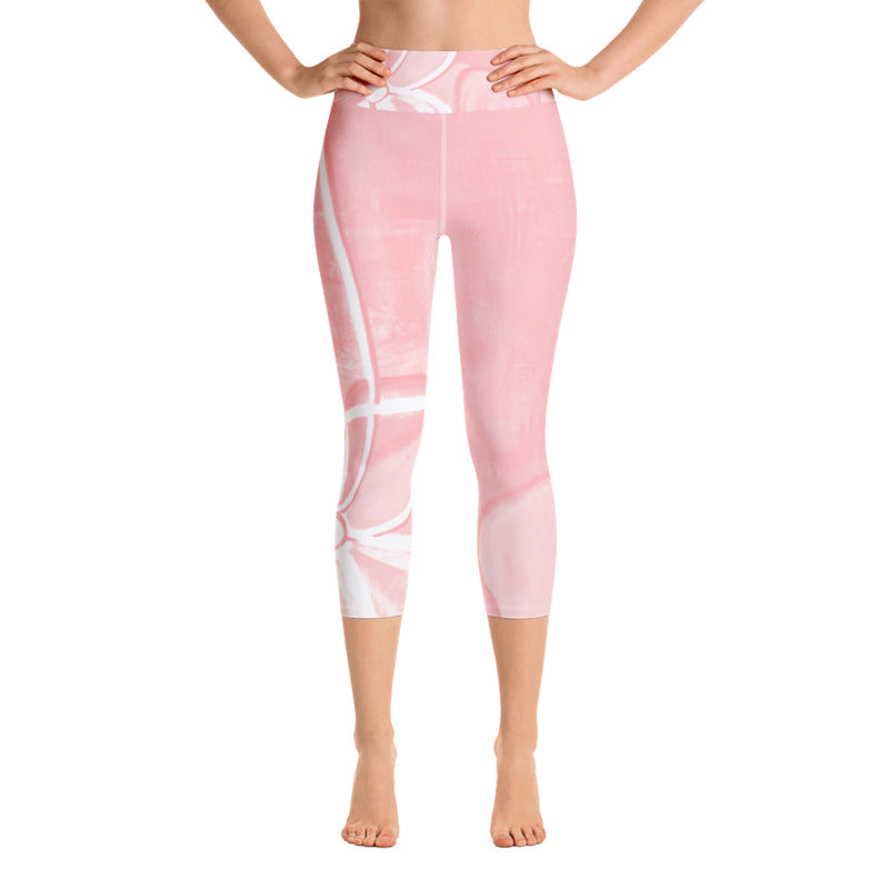 """Abstract Pink & White"" High-Waist Capris"