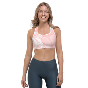 """Abstract Pink and White"" Sports Bra"