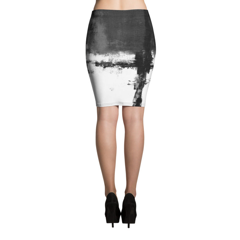 """Abstract Woman Black and White"" Pencil Skirt"