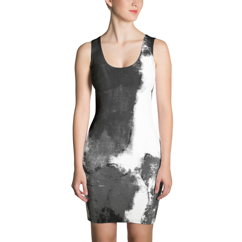 """Abstract Woman Black and White"" Bodycon Dress"