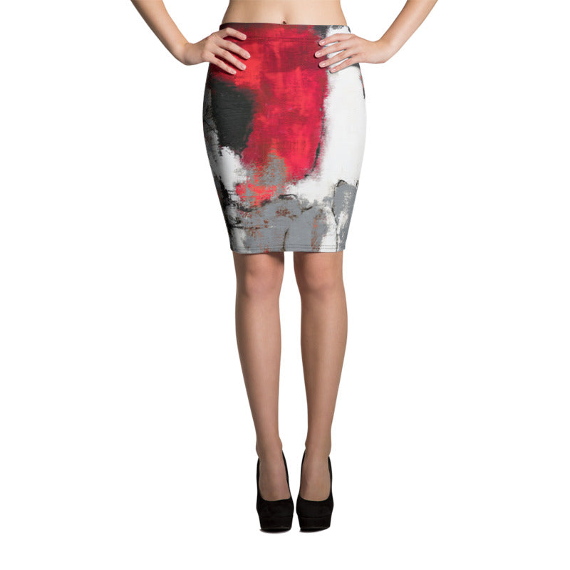 """Abstract Woman Grey"" Pencil Skirt"
