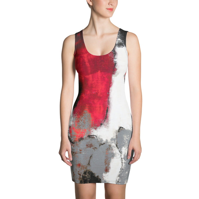 """Abstract Woman Grey"" Bodycon Dress"