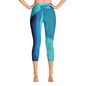 """Blue Abstract"" High-Waist Capris"