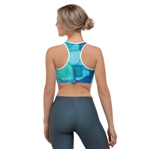 """Blue Abstract"" Sport Bra"