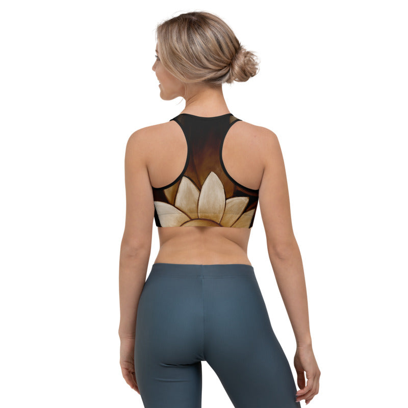 """Brown with Tan Flower"" Sports Bra"