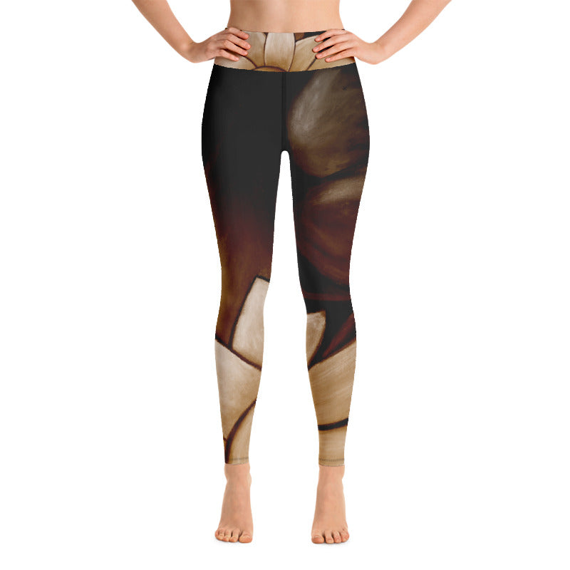 """Brown with Tan Flower"" Art Athleisure Leggings"