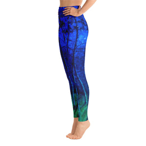 """Cobalt Trees at Midnight"" Art Athleisure Leggings"
