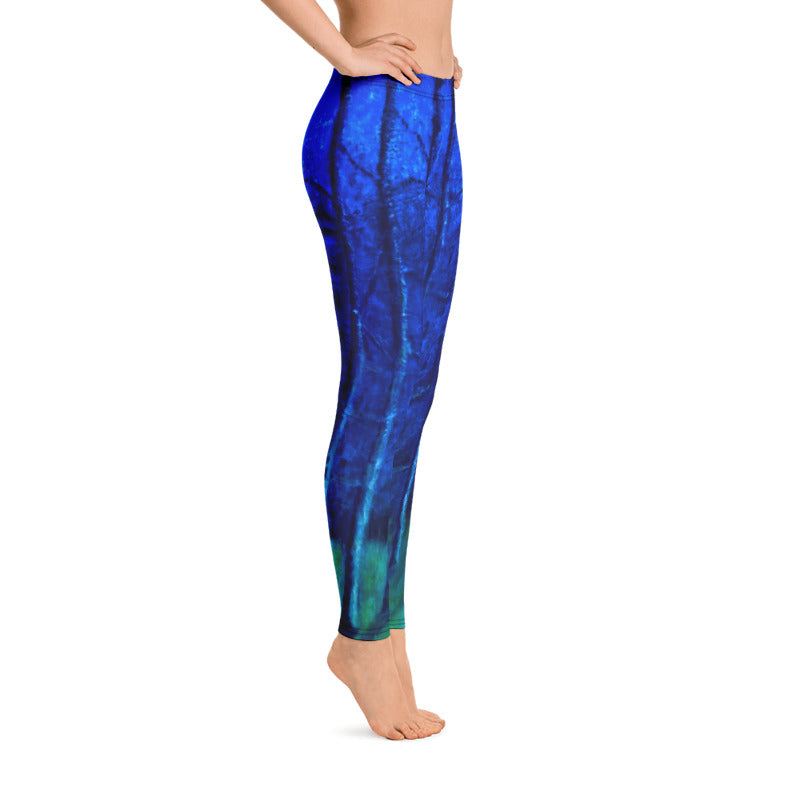 """Cobalt Trees at Midnight"" Regular-Waist Leggings"