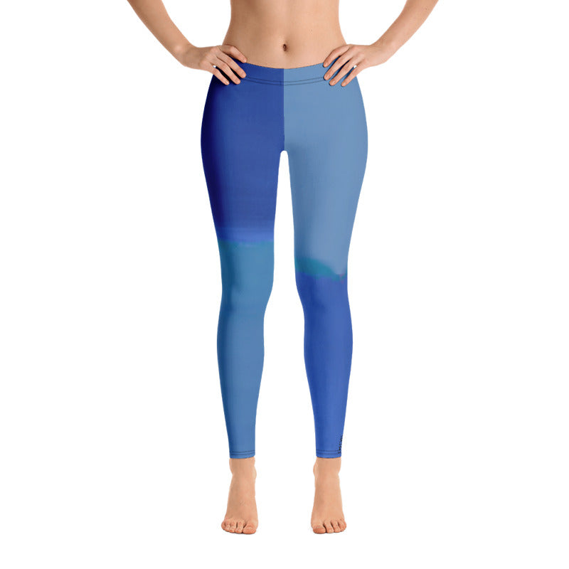 """Color Block Blue"" Regular-Waist Leggings"