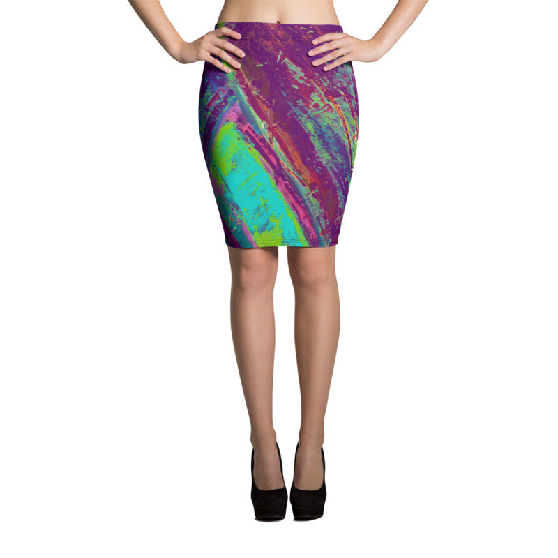 """Courageous Purple and Green"" Pencil Skirt"