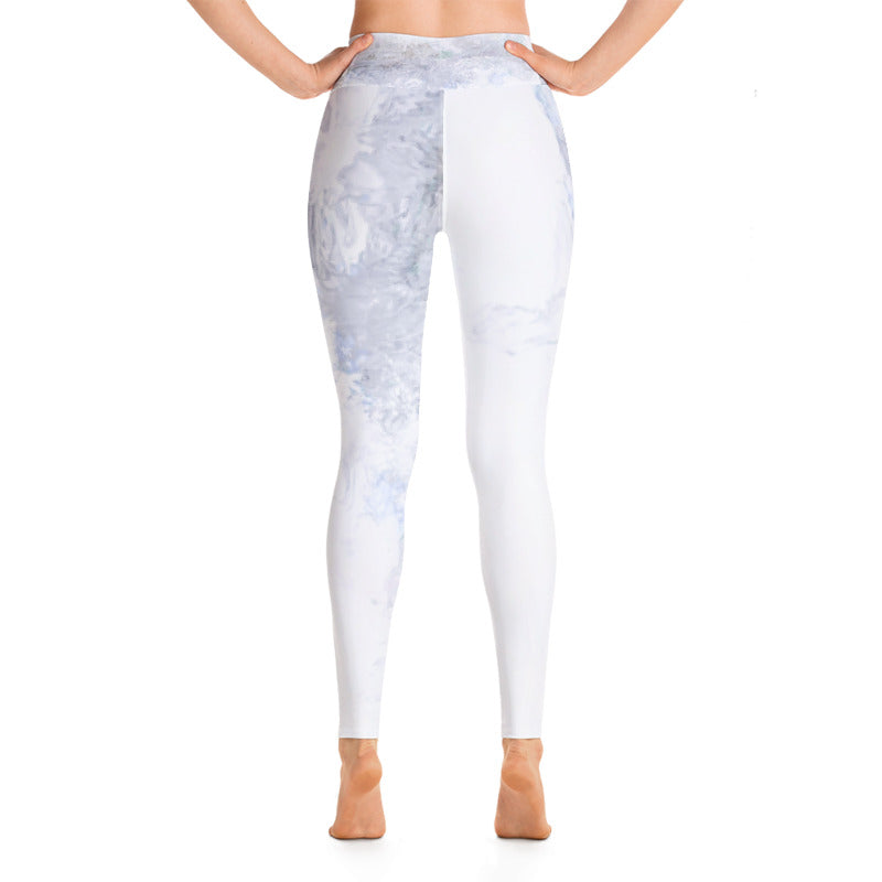 """Darker Grey and White Abstract"" High-Waist Leggings"
