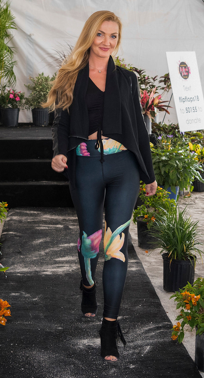 """Flowers on Black"" Art Athleisure Leggings"