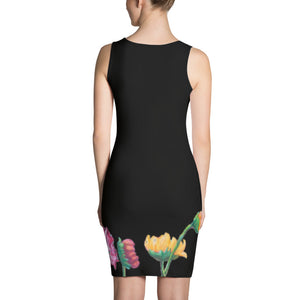 """Flowers on Black II"" Bodycon Dress"
