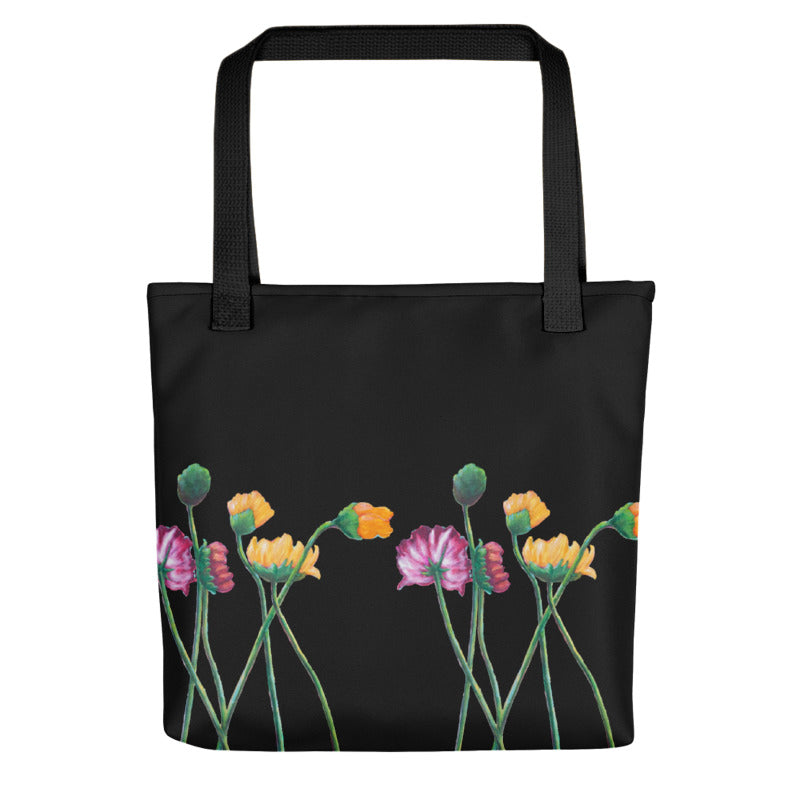"""Flowers on Black II"" Tote Bag"