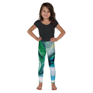 """Fluid Green Swirls"" Leggings for Kids"