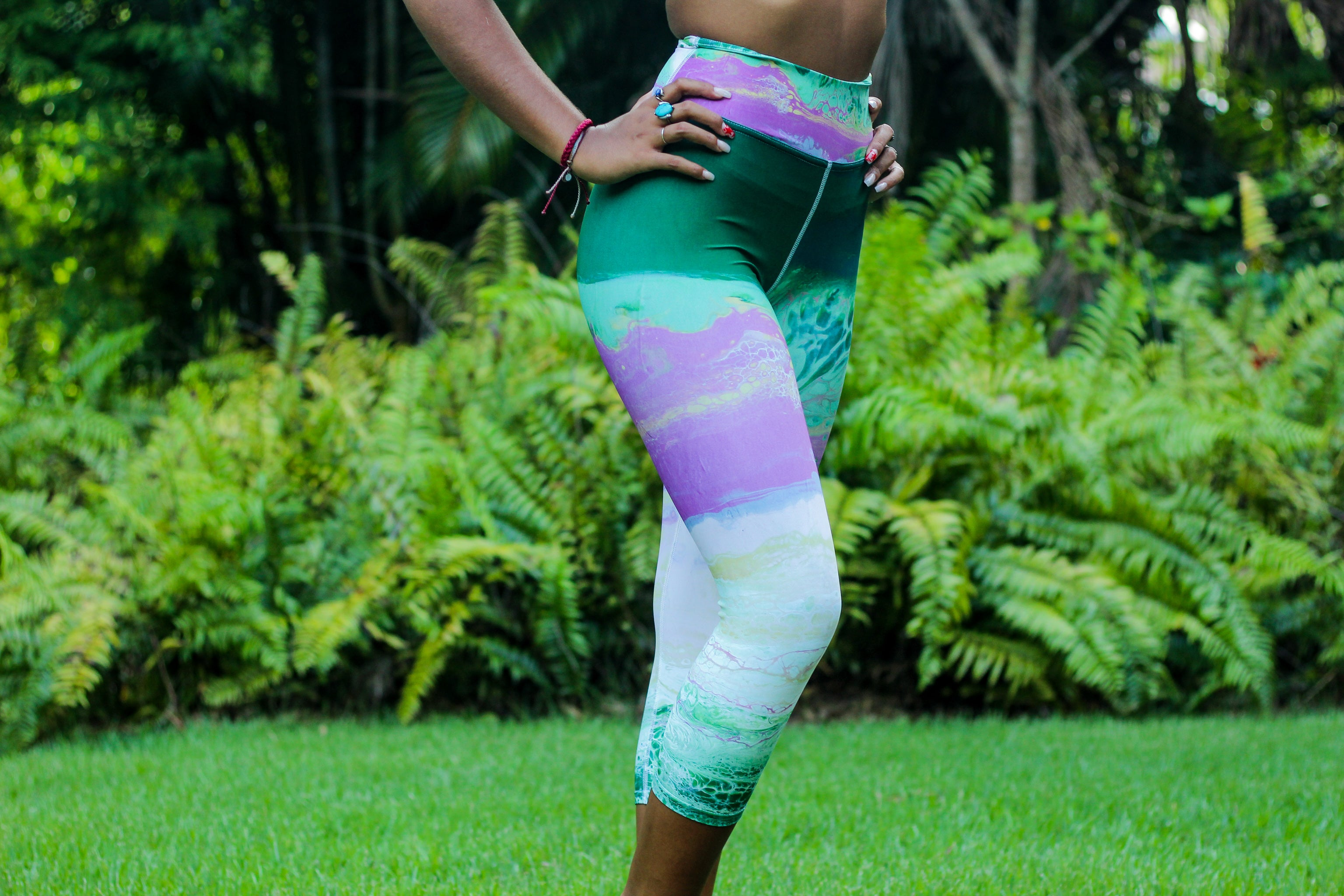 """Fluid Blush & Greens"" High-Waist Capris"