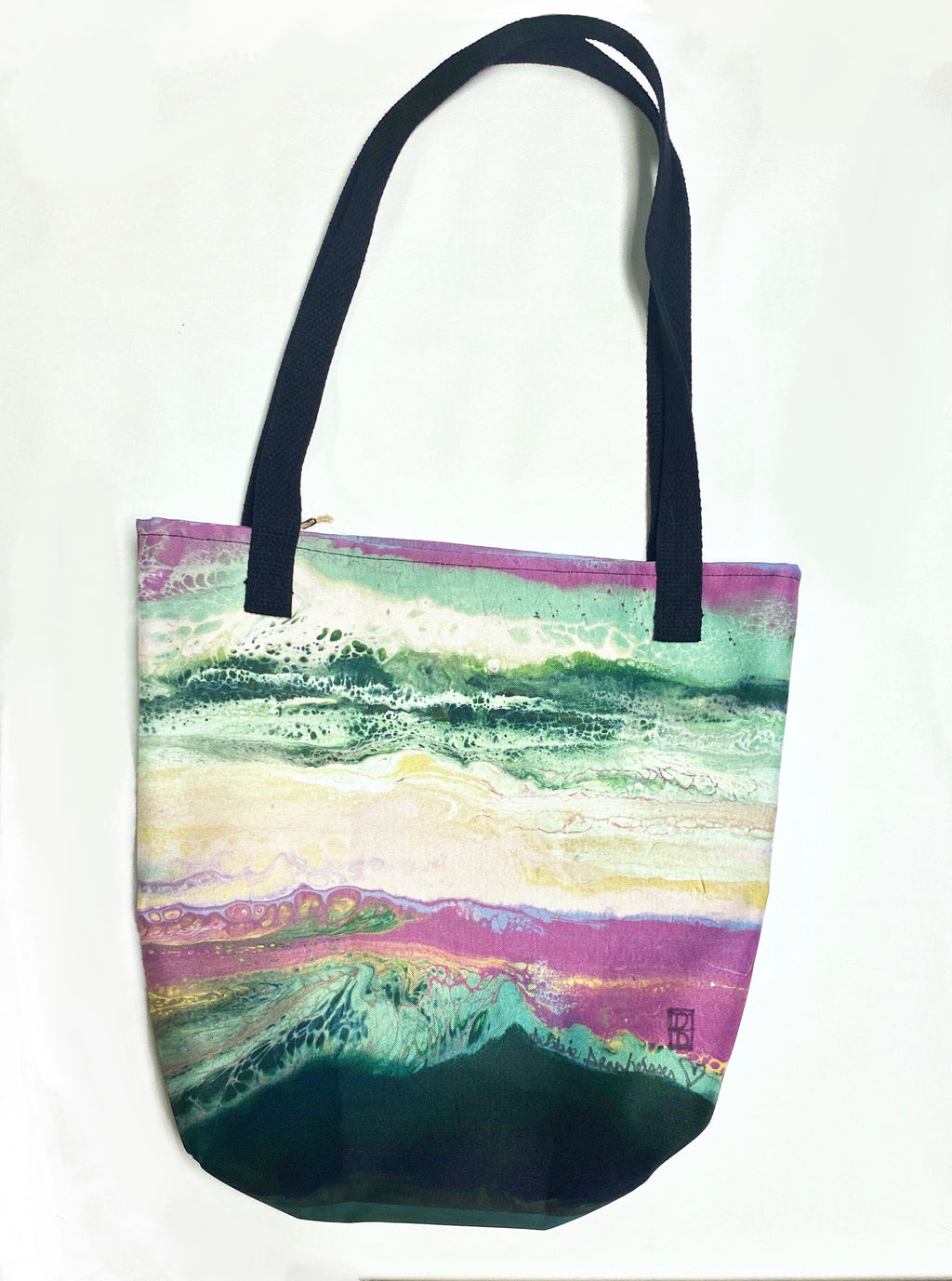 """Fluid Blush & Greens"" Tote Bag"