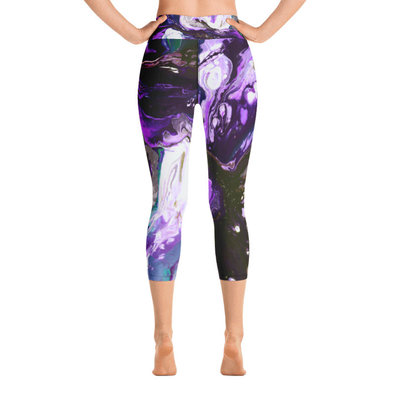 """Fluid Purple"" High-Waist Capris"