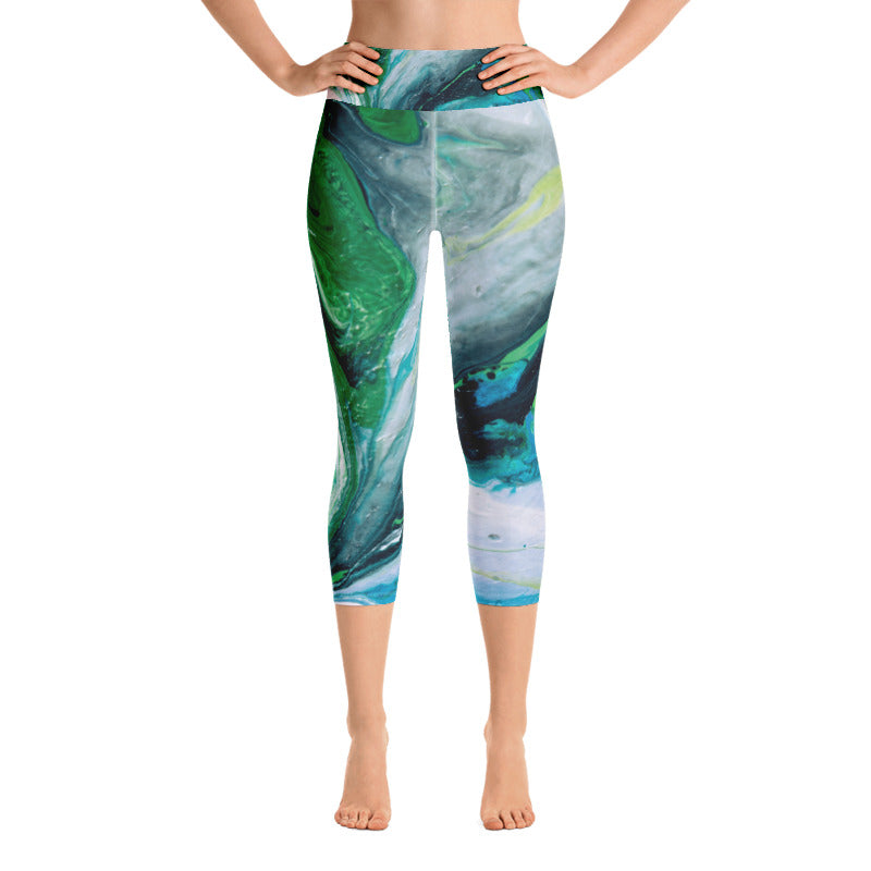 """Fluid Green Swirls"" Art Athleisure Capris"