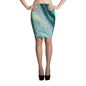"""Fluid Green Swirls"" Pencil Skirt"