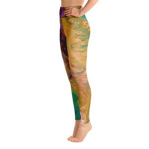 """Fluid Greens & Gold"" High-Waist Leggings"