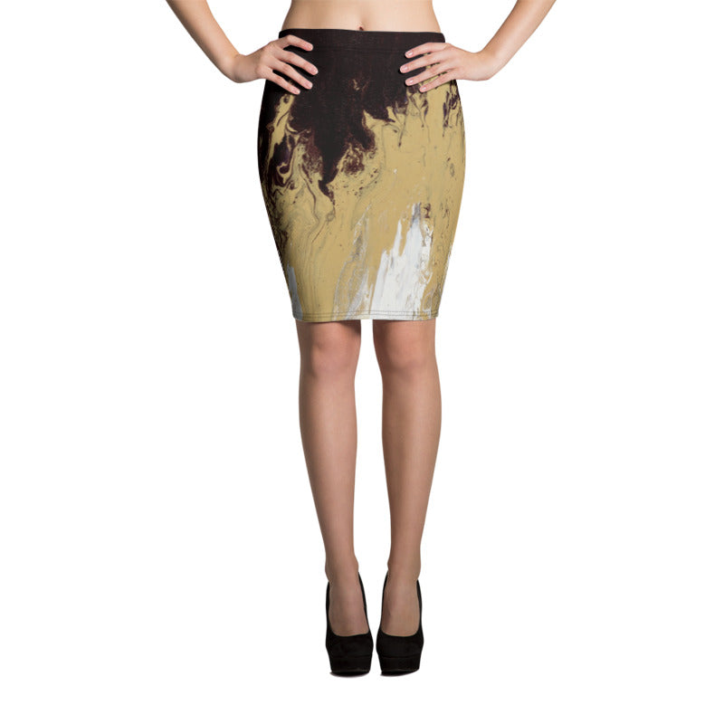 """Fluid Mahogany"" Pencil Skirt"