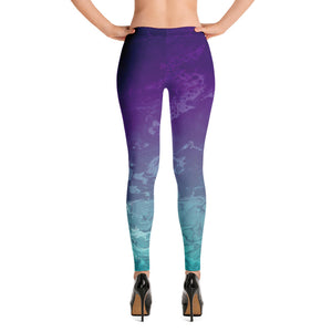 """Fluid Ombre Purple & Teal"" Regular-Waist Leggings"