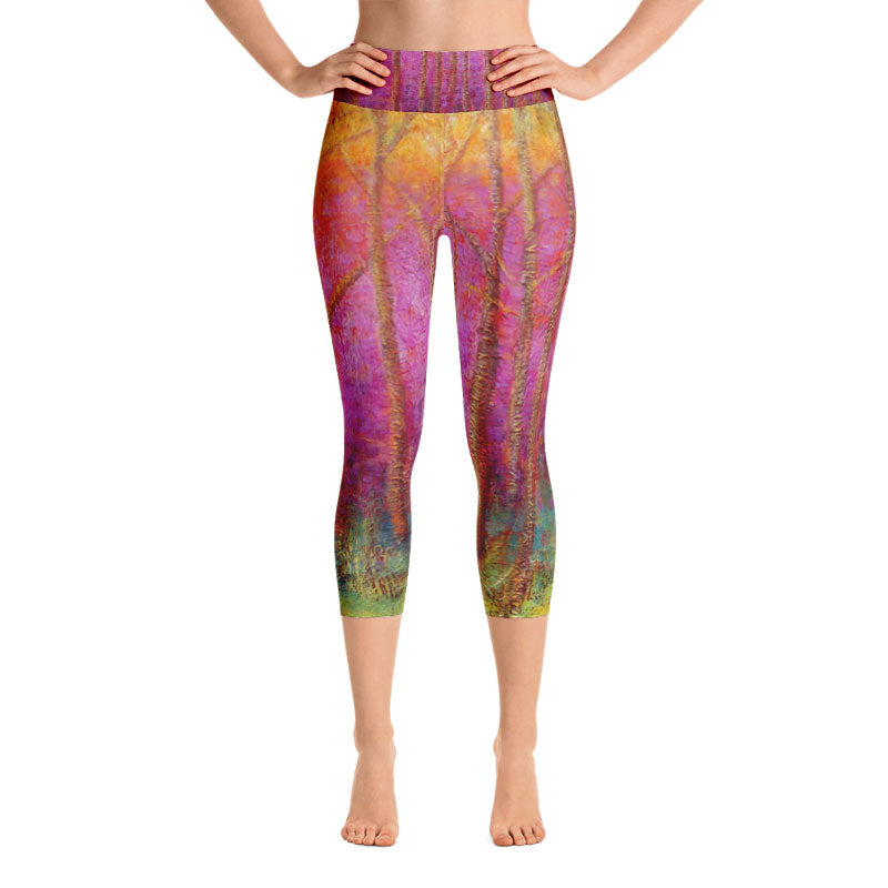 """Fuchsia Trees"" High-Waist Capris"