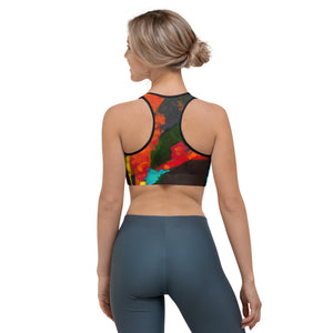 """Heart Abstract Black"" Sports Bra"