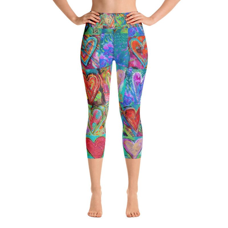 """Hearts Without Borders"" High-Waist Capris"