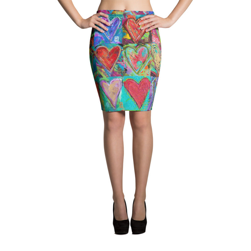 """Hearts Without Borders"" Pencil Skirt"