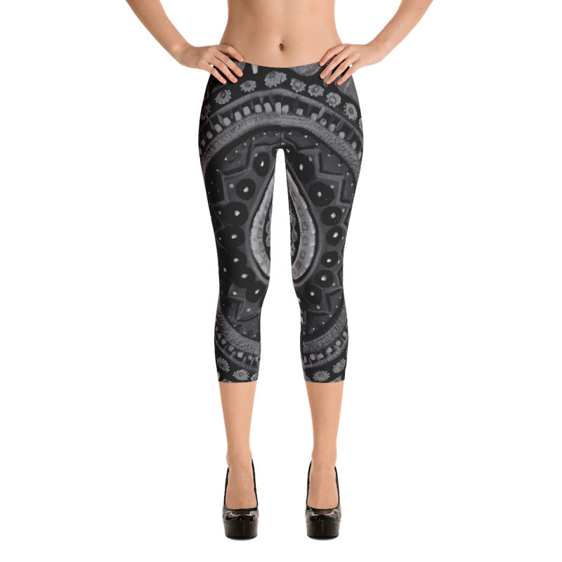"""Mandala Black & Silver"" Capri Leggings"