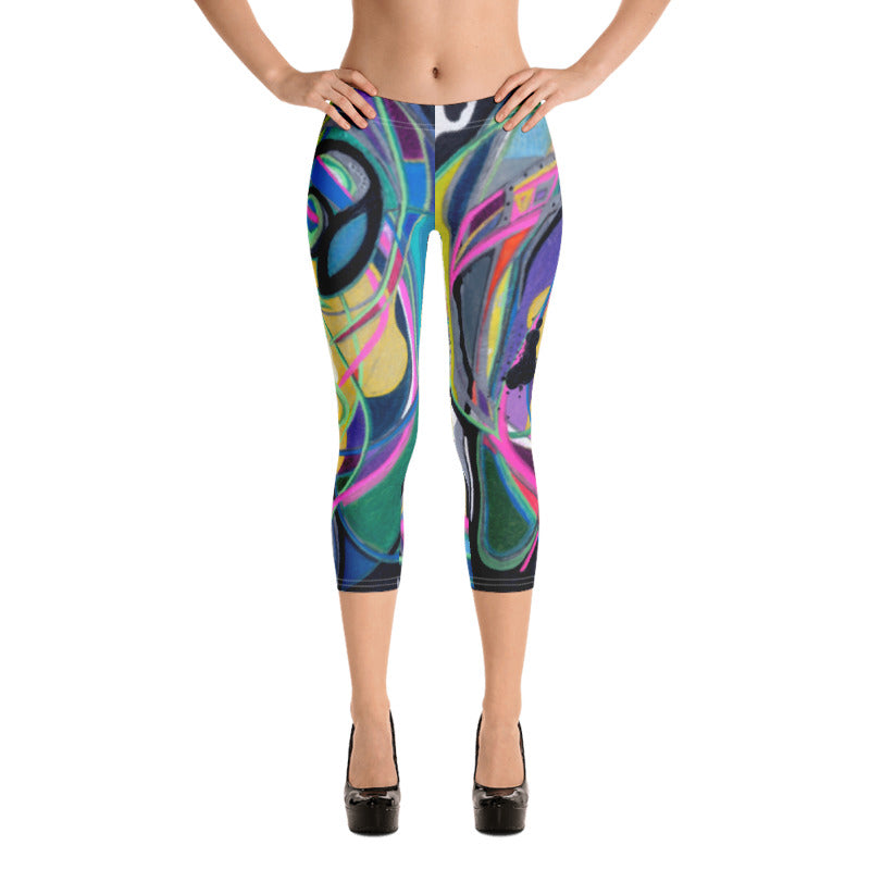 """Nicole's Abstract"" Capri Leggings"