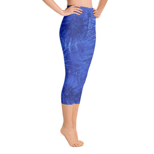 """Royal Blue Splatter"" High-Waist Capris"