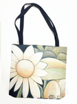 """White Flower on Avocado"" Tote Bag"