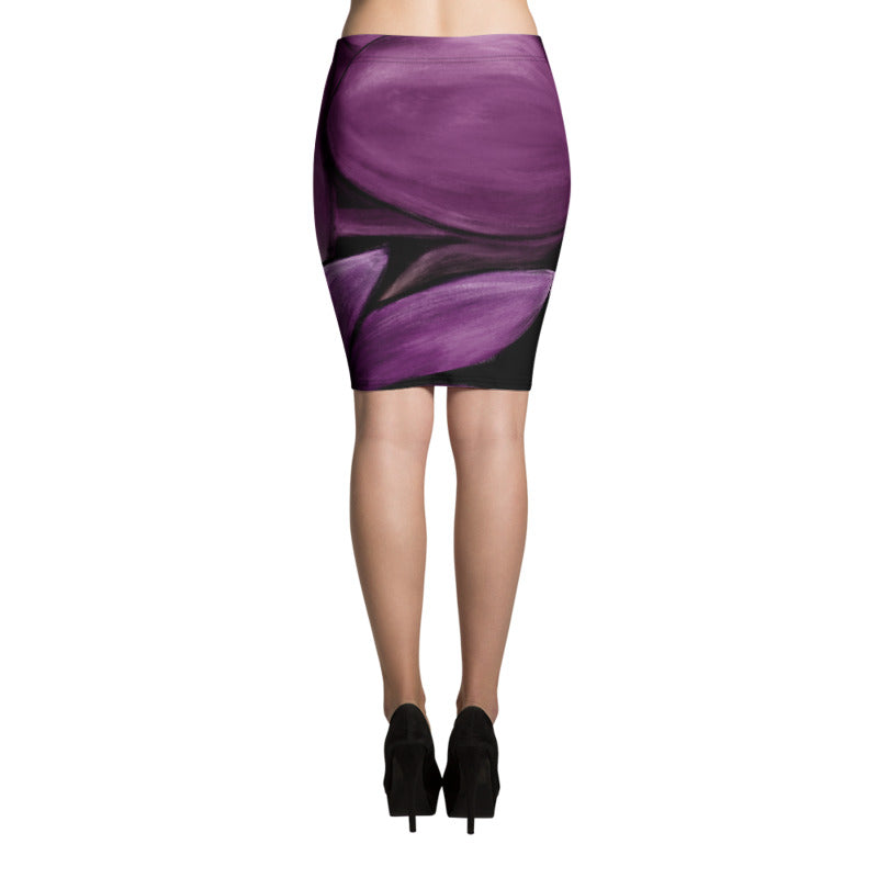 """White Flowers on Amethyst"" Pencil Skirt"