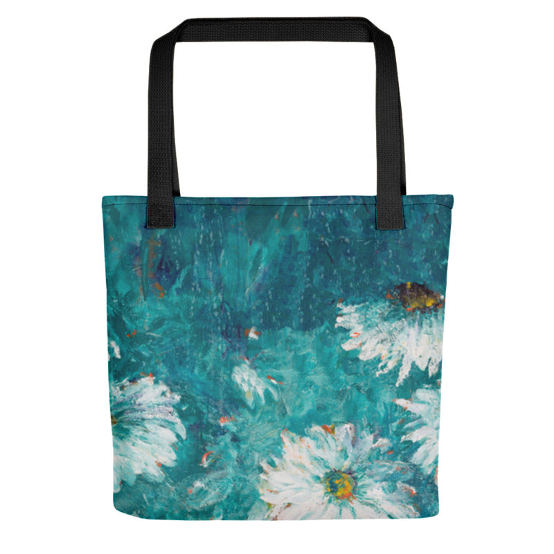 """White Flowers on Turquoise"" Tote Bag"